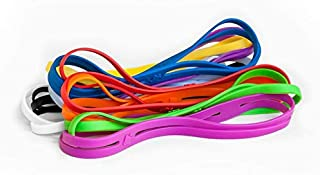 Grifiti Band Joes X Cross Style 9 inch 5 Pack Assorted Colors Long Lasting Cooking Grade Hot Cold UV Resistant Silicone Rubber Bands for Boxes, Board Games, Croak Pots, Laptops