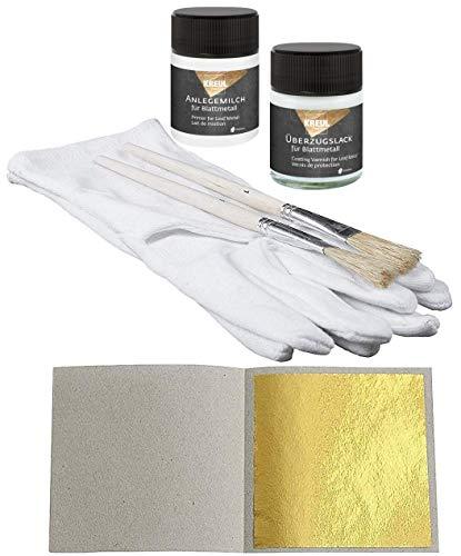 Set 50 Blatt Blattgold (Imit.) Schlagmetall zum Vergolden & Basteln 4,8 x 4,8 cm + 1 x Anlegemilch 50 ml + 1 x Überzugslack 50 ml + 1 Paar Vergolderhandschuhe + 2 Pinsel