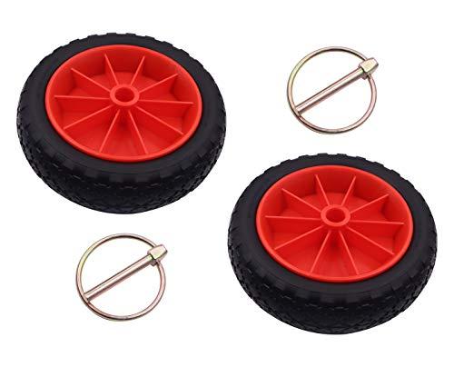 METER STAR 2 ruedas para carrito de kayak de 10 pulgadas, rueda de neumático a prueba de pinchazos para kayak canoa, carro de repuesto, eje central de 0,9 pulgadas, goma sólida