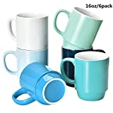 Coffee Mugs Set of 6, Stackable Coffee Mugs, 16 Oz Large Coffee Mugs Set of 6 with Handle, Ceramic Mugs Restaurant Coffee Mug, Set of 6 Coffee Mugs for Coffee Tea and Cocoa, Cold Assorted Colors