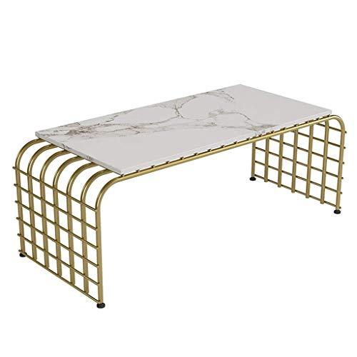 Mejoras para el hogar Diseño de Muebles Mesa de Centro arqueada Mesa de mármol Base de Hierro Forjado Strongoad Firme y Estable Adecuado para Sala de hogar Rectangular