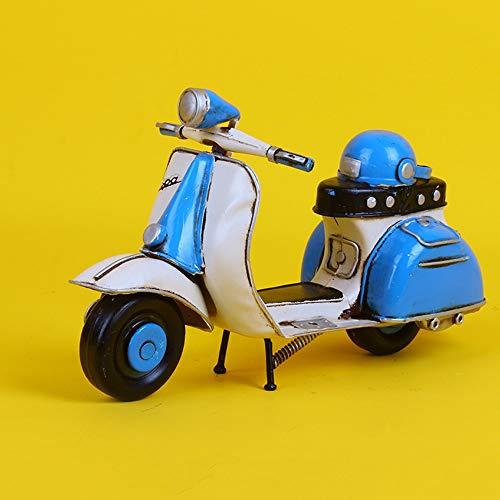 DAMAI STORE Kreative Geschenke Der Alten Vintage-Schmiedeeisen Handwerk Schmuck Zu Hause Dekorationen Modell Mini Scooter Modell 23 * 10 * 3cm Zu Tun (Color : Blue)