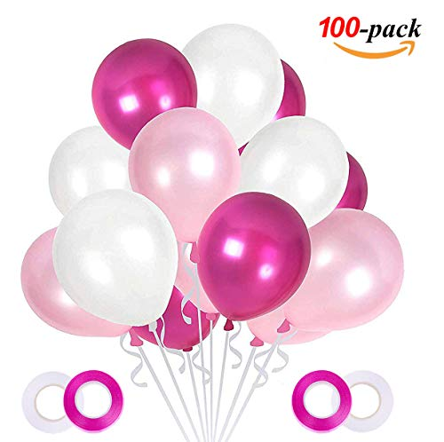 JOJOR Luftballons Rosa Weiß Fuchsie, 100 Stück Rosa Weiß Pink Ballons Helium für Geburstag Deko, Baby Dusche Party, Mädchen Baby Shower, Hochzeitsdeko Dekorationen