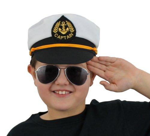 ILoveFancyDress Casquette de Capitaine avec emblème pour Enfant Blanc