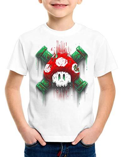 style3 Mario Calavera Camiseta para Niños T-Shirt Videojuego Switch Super World, Color:Blanco, Talla:140