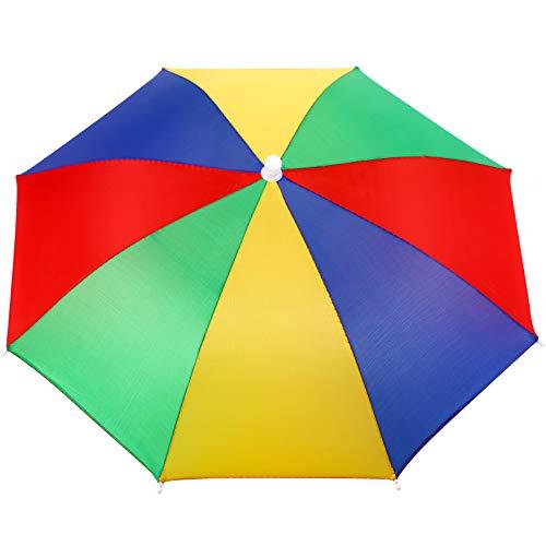 SATINIOR Regenbogen Schirmmütze Bunter Schirmmütze Sonnenregen Regenbogen Schirmmütze Handfreie Kopfbedeckung Regenbogenmütze für Outdoor Aktivitäten Kostüm Zubehör