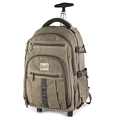 Adlereyire Trolley Bag 56-75 Liters,Lightweight and Waterproof Roller Bag Holdall with Wheels Functional Cabin Luggage Bag for Laptops up to 17' (Color : Khaki, Size : 22-inches)