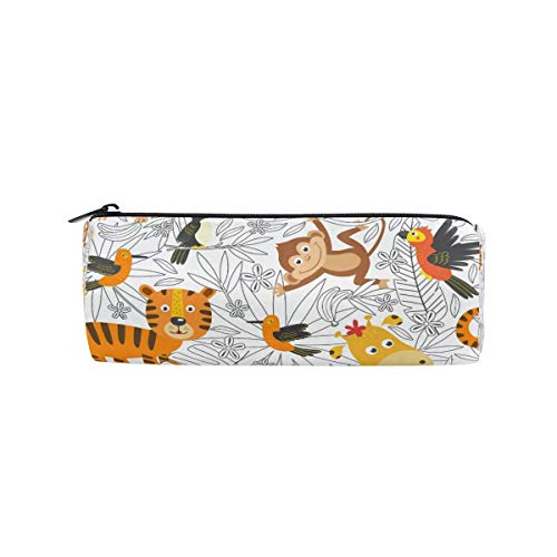 Cute Tropical Animal Tiger Jirafa Estuche para lápices Estudiantes Papelería Bolsa de Almacenamiento Bolígrafo Organizador Cremallera Bolsa para niñas Adolescentes Niños
