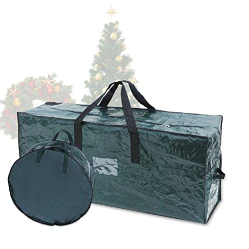 Joiedomi Christmas Tree & Christmas Wreath Storage Bag Set– Fits up to 7.5 ft Disassembled Artificial Christmas Tree and 30' Wreath, Durable Waterproof Material with Carry Handles and Zippered Closure