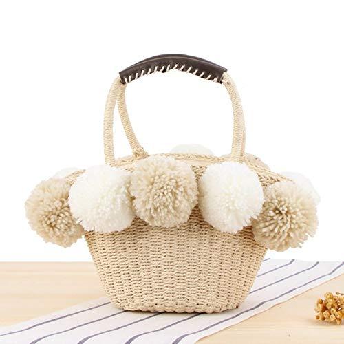 JIEIIFAFH Hohe Qualität Schwarz-weiße Kugel Dekoration Stroh-Beutel-Frauen-Sommer-Strand-Tasche Geschirr Basket Reise Picknick Handtasche weiblich (Color : White)