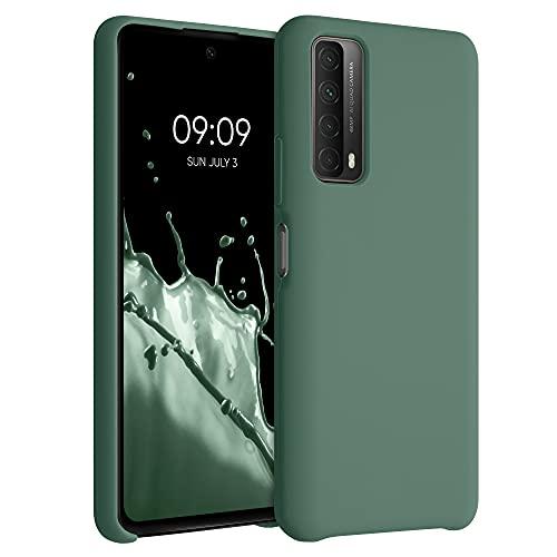 kwmobile Hülle kompatibel mit Huawei P Smart (2021) - Hülle Silikon gummiert - Handyhülle - Handy Hülle in Tannengrün