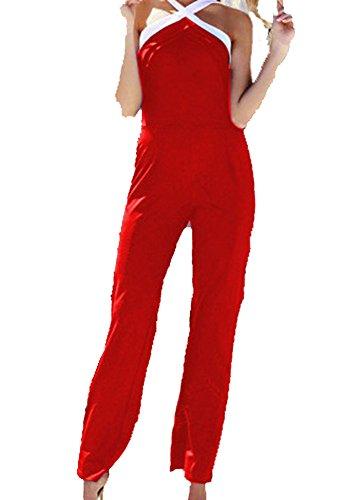 Tuta Donna Elegante - Tute Intere da Sposa Cerimonia O Damigella - Fashion Moderno da Discoteca Party Sera Ballo O Festa (XX-Large, Modello 3 Rosso)