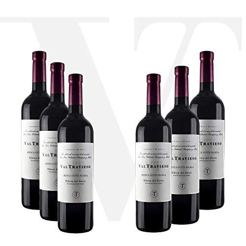 Caja Vino Tinto Valtravieso Ribera del Duero - Finca Santa Maria Roble Denominación de Origen Tinto Fino (98%) Cabernet Sauvignon y Merlot (2%) | Pack Lote Regalo de 6 Botellasx750ml