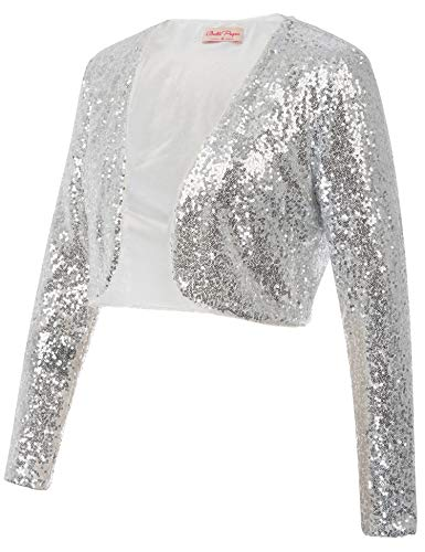 Belle Poque Women's Sequin Sparkly Cropped Shrug Sweater Plus Size Silver Shrugs for Evening Dresses (Silver,XXL)