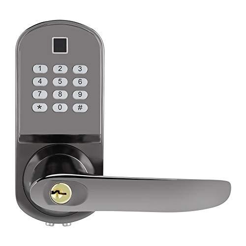 Garsent Cerradura de Puerta Digital, Huella Digital Inteligente Contraseña Cerradura de Puerta Llave Mecánica Biométrica Cerradura de Puerta Antirrobo Electrónica para Seguridad en el Hogar.
