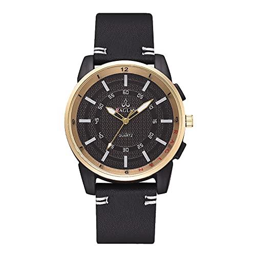 Reloj de cuarzo - Hombres Casual Elegante Cuarzo Analógico PU Correa de Cuero Reloj de Negocio (negro)