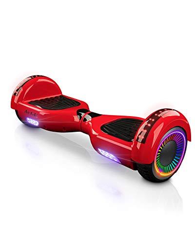 """ACBK - Hoverboard Patinete Eléctrico Autoequilibrio con Ruedas de 6.5"""" (Altavoces Bluetooth + Ruedas Led integradas) Velocidad máxima: 10-12 km/h - Autonomía 10-12 km (Rojo)"""