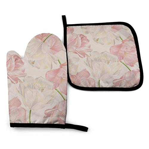 Gants de four et support de pot 2 pièces ensemble parfum de tulipe nature fleur printemps soins graphique étanche cuisine four mitaines résistant à la chaleur Pot Pad pour barbecue