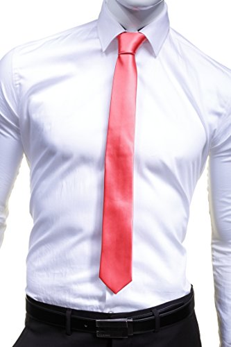 VIRTUOSE - Cravate Uni Satin Slim Saumon - Couleur Rose - Taille Unique