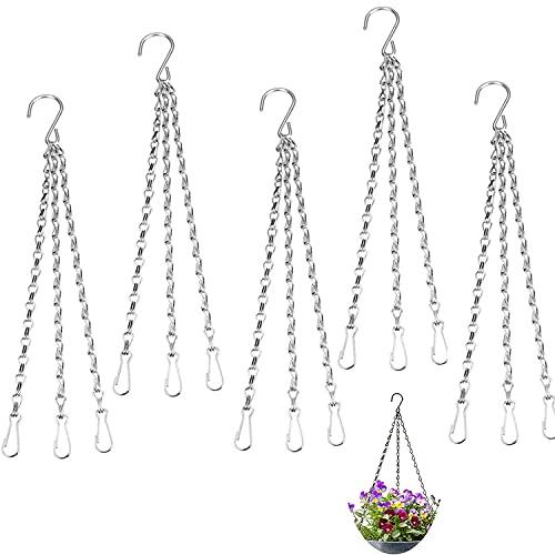 5 stuks metalen kettingen, bloempotten, hangende mandkettingen, bloempotten, hangende mandhouder, ketting met S-haak…