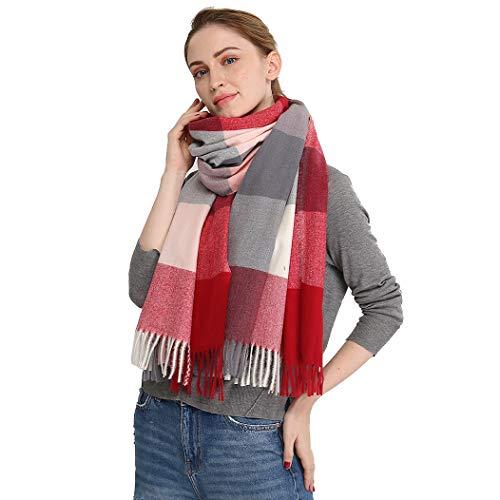 Longwu Donna Morbida sciarpa in lana di cashmere Grande scalda Pashminas e avvolgente coperta con stola calda-Vino rosso2