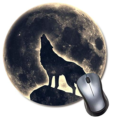 Yaxazepluy - Moon Wolf Mouse Pad, Gaming Round Mousepad for Computer Laptop Non-Slip Rubber Desk Mat,Cute Office Gift(8 Inch)