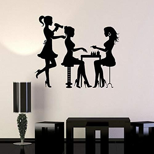 Stylist Silhouette Wall Decal Beauty Hair Salon Spa Nail Art Interior Decor Vinyl Window Stickers Fashion Girls Wallpaper 42x48cm