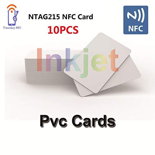 NFC Card 10 x Inkjet PVC NFC Karten NXP NTAG215 NFC Tags Bedruckbar Kompatible Mit Epson & Canon Inkjet Drucker, CR80 30MIL,Kompatible Mit Amiibo und TagMo - Timeskey NFC