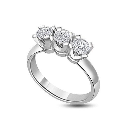 0.30ct G/SI1 Diamante Trilogy Anello da Donna con Rotonda Brillante diamanti in 18kt Oro bianco