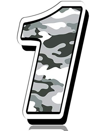 Biomar Labs® 1 x Vinilo Adhesivo Número 1 Camuflaje Militar Camouflage Sticker Gris Pegatina Coche Auto Motocross Moto Sport Start Racing Rally Tuning N 231