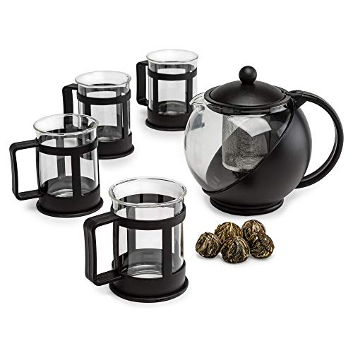 Primula Half Moon Glass Teapot with Removable Infuser Cups and Flowering, Superior Filtration, Gift, Tea Set for Service of 4 Adults, 40 oz, Black