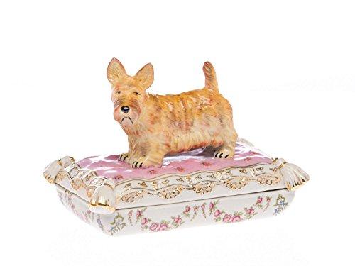 aubaho Coupe avec Couvercle - Porcelaine - Motif Terrier écossais - Style Antique