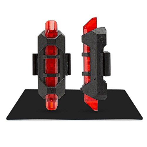 Luz de seguridad para bicicleta con 5 luces LED, luz trasera recargable por USB, luz trasera de advertencia
