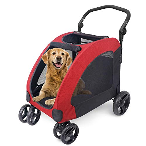 ANTOPY Dog Stroller 4 Wheels for Medium Large Dog Cat, Foldable Pet Jogger...
