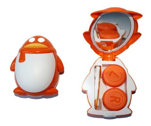 Kontaktlinsenbehälter Aufbewahrungsbehälter Etui Set Spiegel süße Pinguin Orange