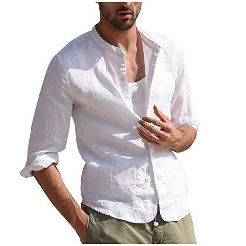 KUKICAT Chemise Homme Lin Manches Longues Blanche Slim Fit Col Mao Blouse Tops T-Shirt Homme Blanc Chemises sans Repassage Été Casual Confortable Respirant
