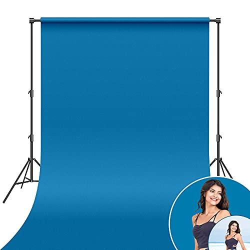 Niumowang 1,5 x 2m Sfondo fotografico, Blu, Sfondo Pro Pieghevole di Materiale poliestere per Fotografia di Prodotti, Ritratti e Produzione di Video, Televisione, YouTube, Riunioni Online