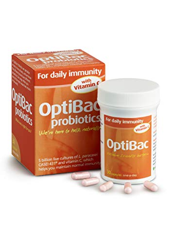 OptiBac For Daily Immunity | 5 Billion Friendly Bacteria Natural Supplement | Lactobacillus Paracasei With Added Vitamin C To Support Immunity | One Month Supply | 30 Capsules