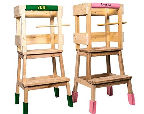 Lernturm by Deskiturm inklusive einem Filzgleiterset mit dem Namen des Kindes, Lerntower Learning Tower Montessori