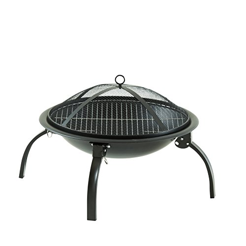 Neo Large Black Fire Pit Folding Steel BBQ Camping Garden Patio Outdoor Heater Burner