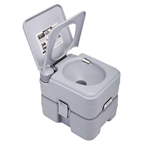 Portable Travel Toilet 5.3 Gallon 20L, Flush Travel Camping Portable Toilet for Hinking, Boating, Caravan, Campsite, Hospital (Gray)