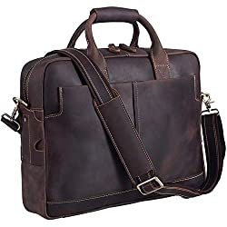 Genuine Leather Men's Briefcase Messenger Tote by Texbo
