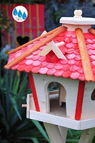 Vogelhaus Massivholz,wetterfest, mit Ständer / mit Standfuß und Silo,Futtersilo für Winterfütterung, Vogelvilla XXXL Vöglehus Vogelhäuschen, groß aus Holz SR60roM rote Holzschindel - 3