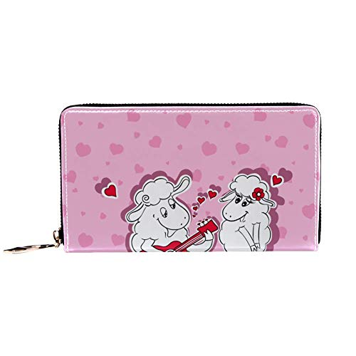 XCNGG Damen Reißverschluss um Brieftasche und Telefonkupplung, Reisetasche Leder Clutch Bag Kartenhalter Organizer Wristlets Brieftaschen, Happy Sheep Playing Serenade On Guitar