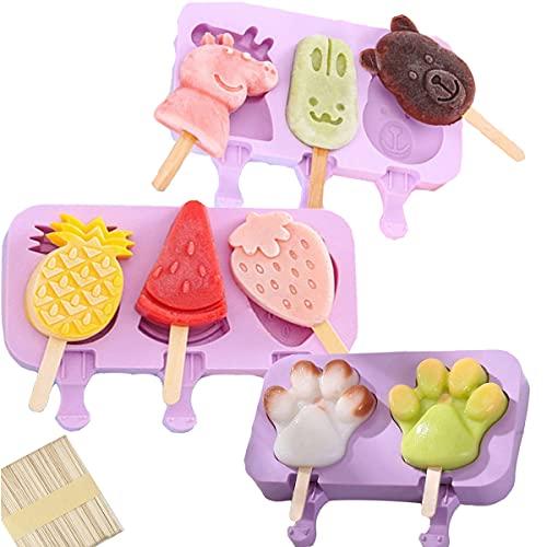 Tangger 3PCS Eisformen Silikon BPA Frei Con 150 Holzeisstiele,Eislutscher Formt Silikonform für Kinder Baby Mit Deckel,Lila