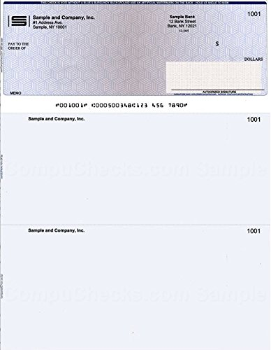 """250 Printed Laser Computer Voucher Checks""""High Security"""" Compatible with Quickbooks - Blue/Red Cubed"""