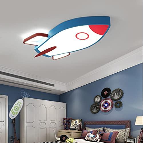 WJLL Moderno LED Lámpara de Techo Cuarto de los Niños Luz de Techo Regulable con Control Remoto Forma de Cohete Diseño Plafón de Dormitorio de Niña Chico Iluminación Acrílico Pantalla L70*W34c