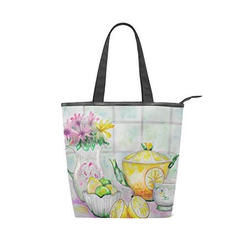 JinDoDo - Bolsa de lona con cremallera para té, jarrón de frutas de limón, flores, acuarela, para pintura, bolso de mano, para mujer, para ir de compras, viajes, playa, escuela