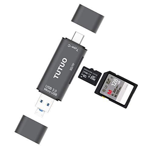 TUTUO Kartenleser USB 3.0 Speicherkartenleser 3 in 1 Universal USB Type C, USB-A 3.0 und Micro USB OTG für SD, SDXC, SDHC, TF, Micro SD, Micro SDXC, Micro SDHC Karten und mehr (Grau)
