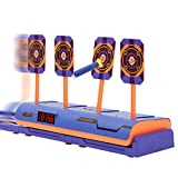 SZJJX Moving Shooting Targets for Nerf Guns, Electronic Scoring Auto Reset 4 Digital Running Targets with Rechargeable Battery, Shooting Games Kids Toys Gifts for 5 6 7 8 9 10 11 12 Year Old Boys